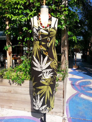 Batik Sun Dress Bamboo Print Chocolate Green Ivory