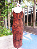 Batik Beach Dress in Indonesia Orange on Black