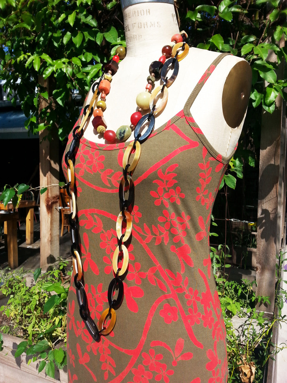 Batik Beach Dress Matisse Olive and Red