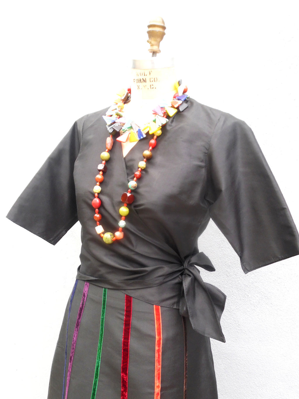 Carnival Skirt In Thai Silk And Velvet Ribbons Black