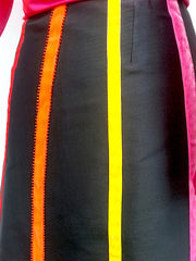 Carnival Skirt Thai Silk And Velvet Ribbons Black Bright