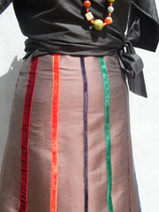 Carnival Skirt Thai Silk And Velvet Ribbons Chocolate