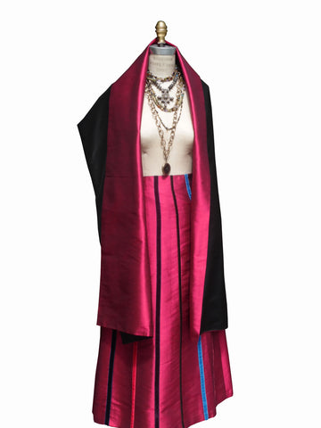 Carnival Skirt Thai Silk And Velvet Ribbons Garnet