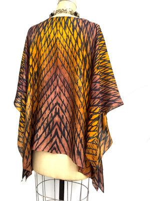 Silk Caftan Hand Painted Shibori Model 1 Caramel
