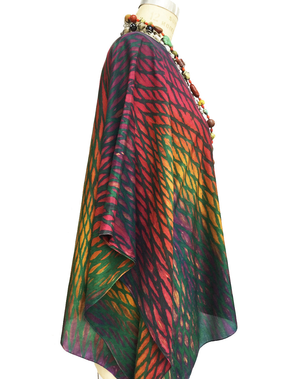 Silk Caftan Hand Painted Shibori Model 1 Fuchsia