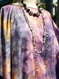 Silk Caftan Hand Painted Shibori Model 1 Amethyst