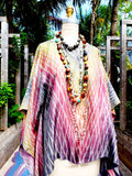 Silk Caftan Hand Painted Shibori Model 1 Red