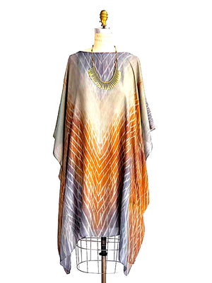 Silk Caftan Dress Hand Painted
