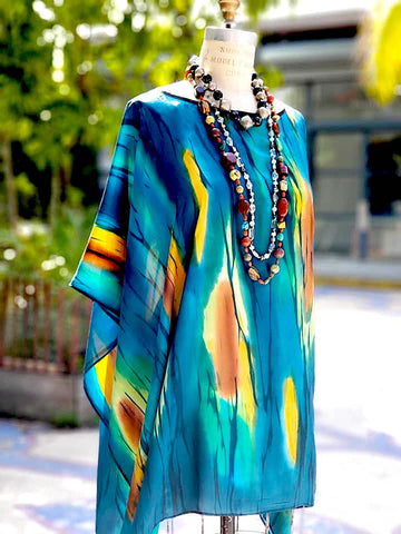 Silk Poncho Tunic Hand Painted