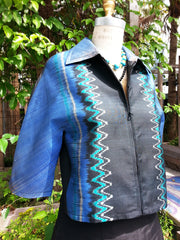 Modern Ikat Couture Cut Jacket Black Cobalt Turquoise