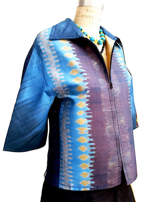 Modern Ikat Couture Cut Jacket Blue Purple