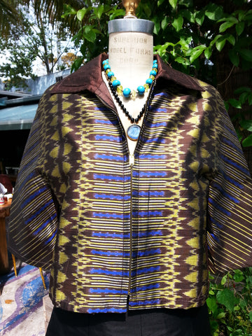 Modern Ikat Couture Cut Jacket Chocolate Cobalt Gold