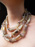 Necklace Chunky Triple Strand Citrine Quartz And Horn