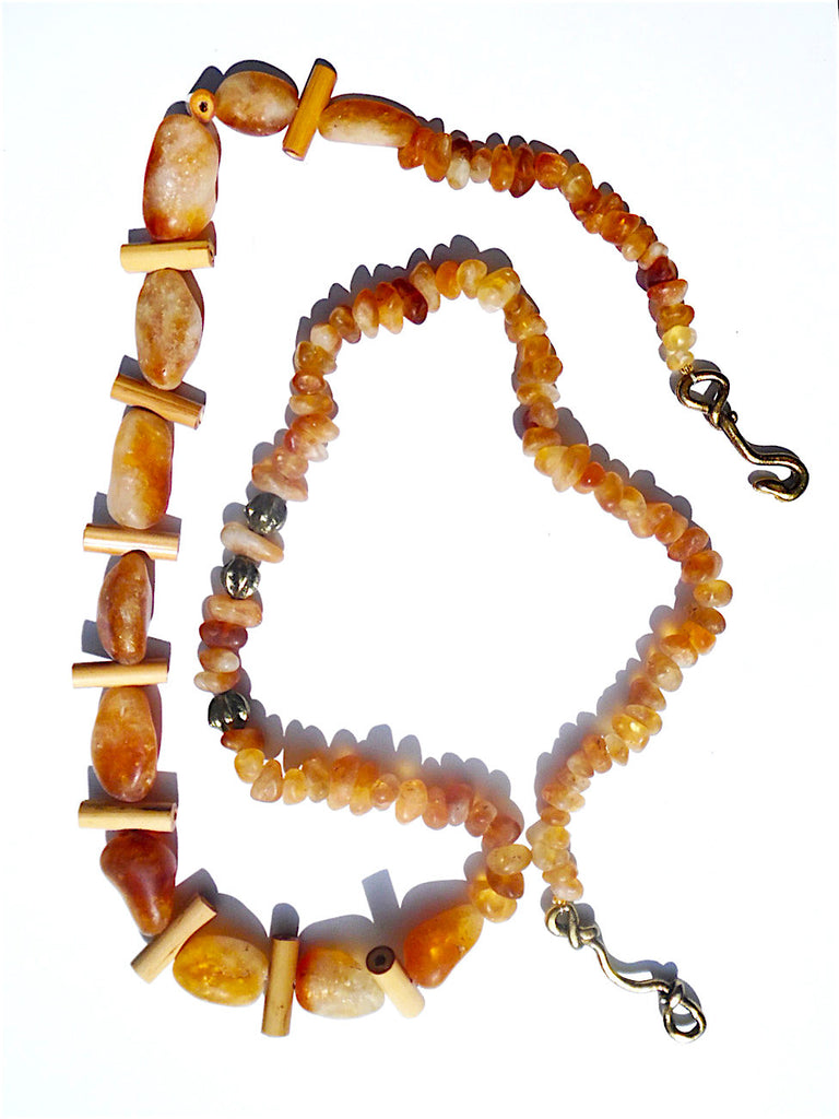 Necklace Agate Citrine And Wood