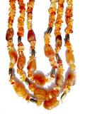 Necklace Triple Strand Citrine Amber and Agate