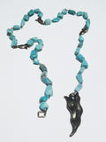 Necklace Or Chain Belt Amazonite With Leaf