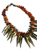 Necklace Carnelian Agate and Bronze Spikes