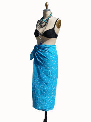 Crinkle Cotton Pareo Sarong In Turquoise