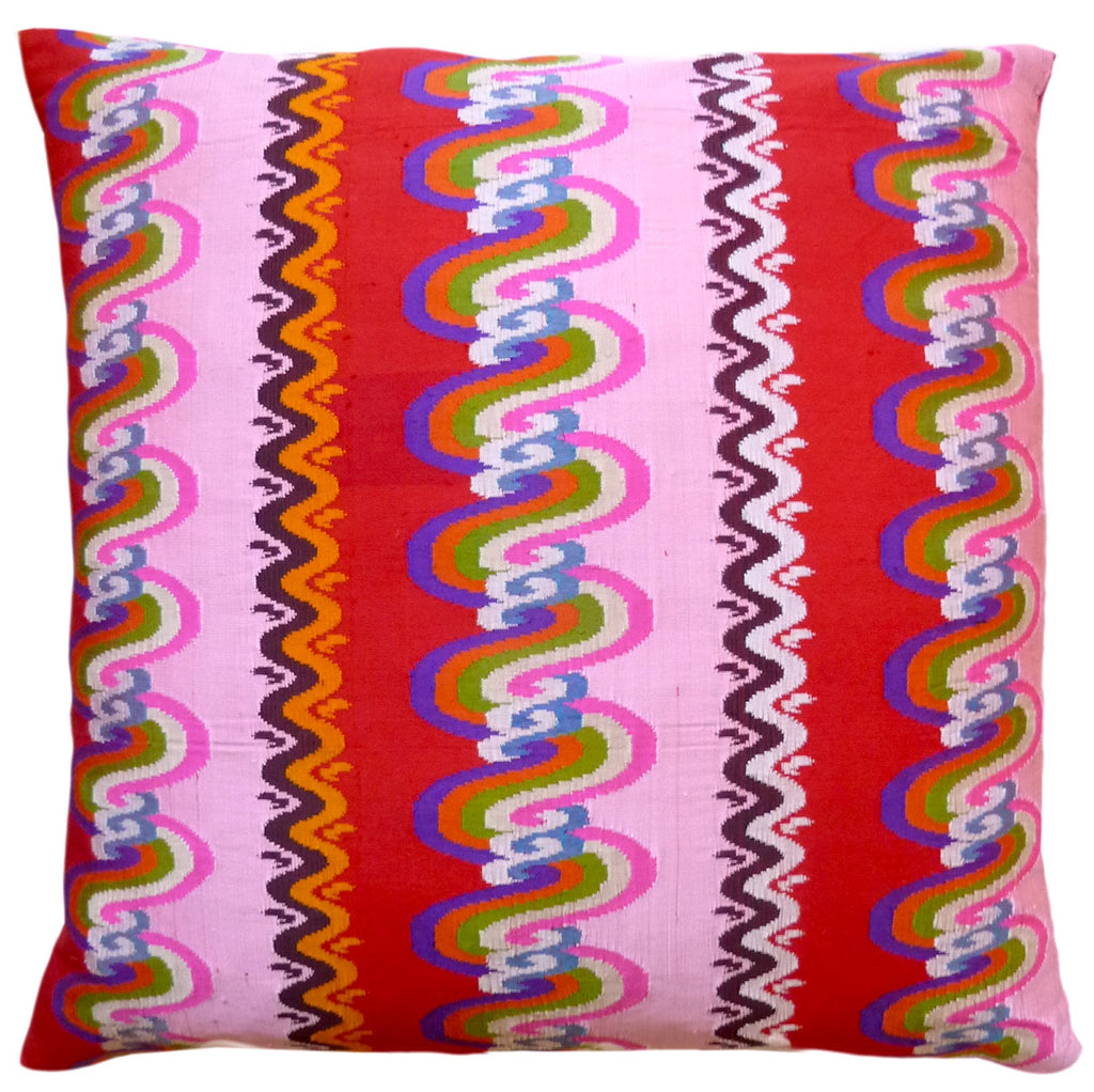 Burmese Silk Pillow Pink And Red
