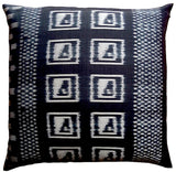 Thai Silk Modern Ikat Pillow Black And Silver