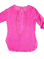 Batiste Cotton Beach Cover Up Top Hot Pink