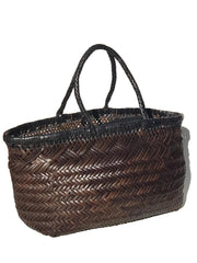 Woven Leather Basket Tote Bag