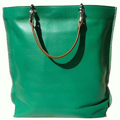 Gajumbo Tote Bag Pebble Grain Leather Turquoise