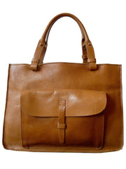 STRUCTURED TOTE IN CAMEL FLORENTINE VACCHETTA LEATHER