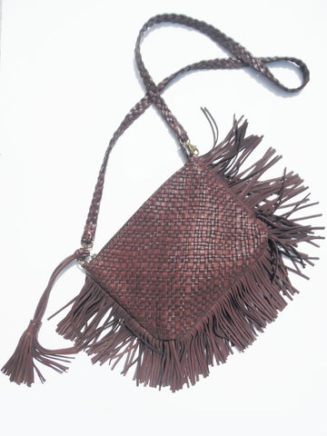 Hand Woven Leather Clutch With Fringe And Tassel - Crossbody Strap