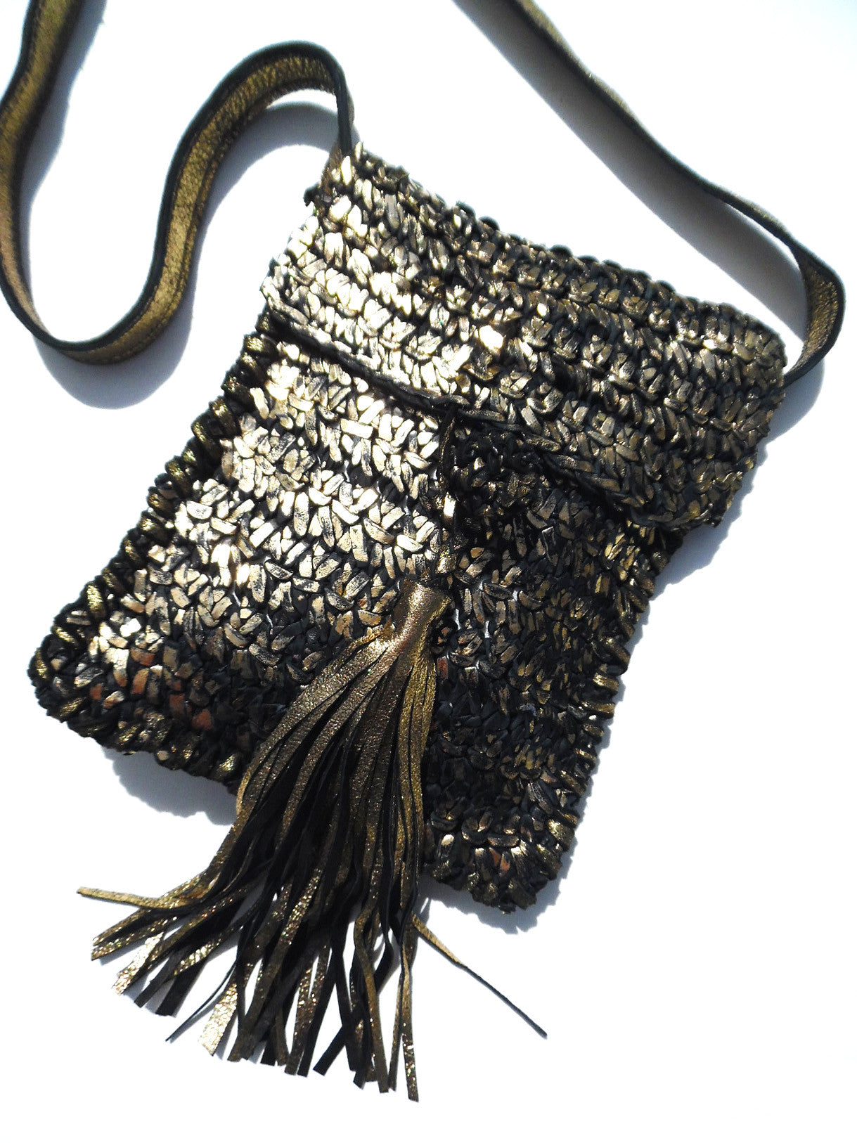 Tricot Woven Leather Crossbody Bag with Tassel