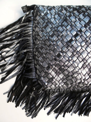 Hand Woven Leather Clutch With Fringe And Tassel Metallic