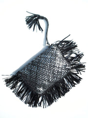 Hand Woven Leather Clutch With Fringe And Tassel Metallic - Crossbody Strap