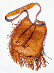 Hand Woven Leather Shoulder Cross Body Bag And Fringe Cognac