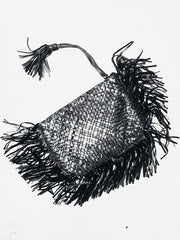 Hand Woven Leather Clutch With Fringe And Tassel