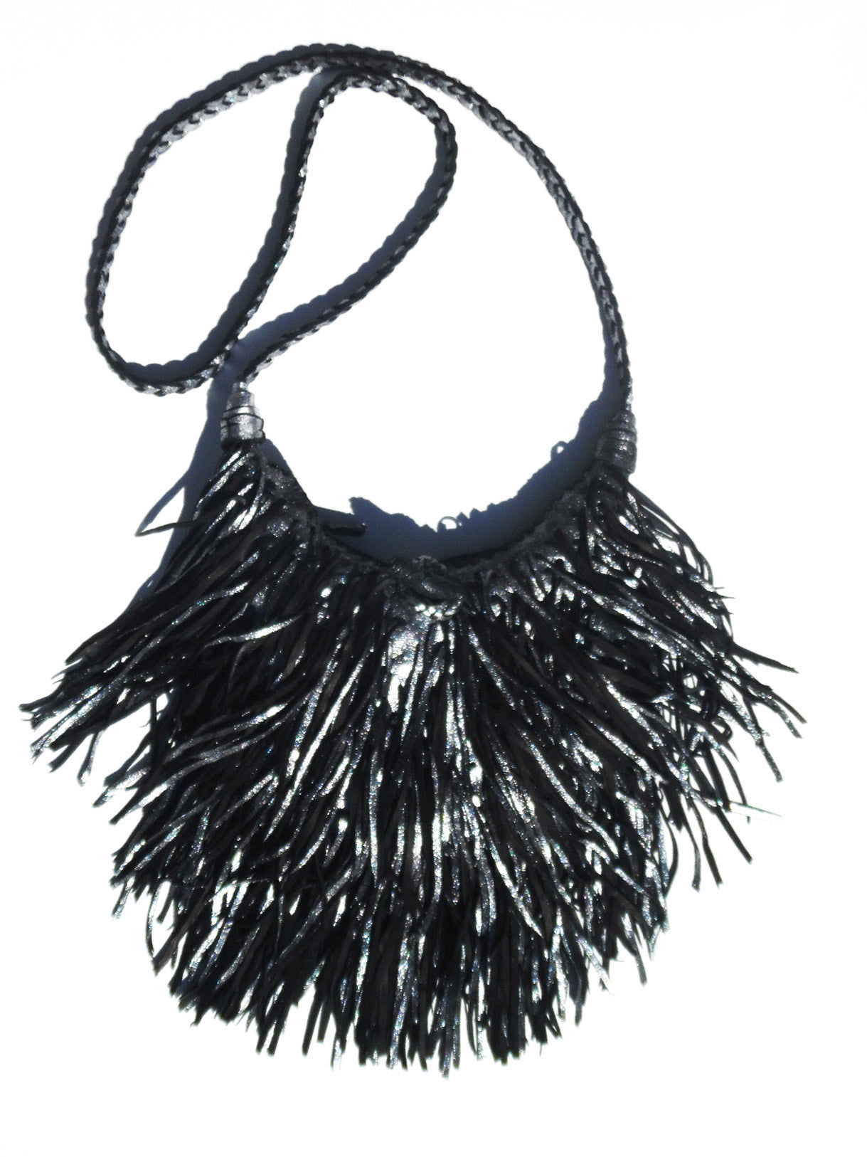 El Fleco Crossbody Fringe Bag Antique Silver