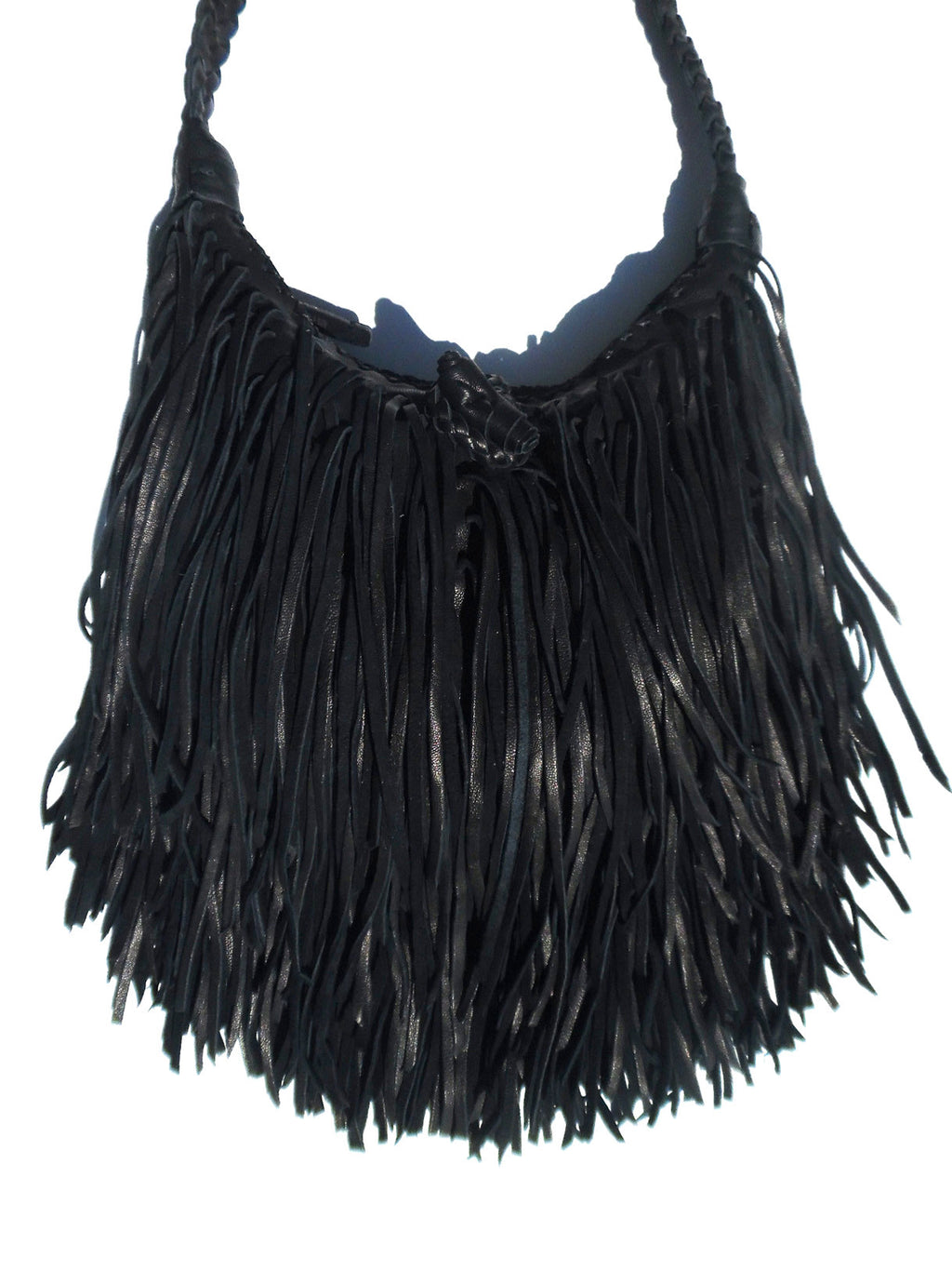El Fleco Crossbody Fringe Bag Black