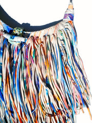 El Fleco Crossbody Fringe Bag Rainbow Leather