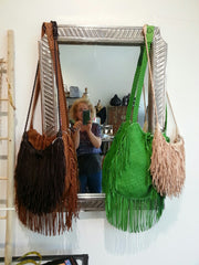 El Fleco Crossbody Fringe Bag Natural