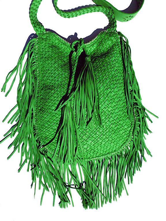 Hand Woven Leather Shoulder Crossbody Bag And Fringe Green