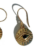 Earrings Gold Evil Eye with Blue Quartz