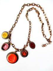 Necklace Bib Of Multi Intaglios  Orange and Pink
