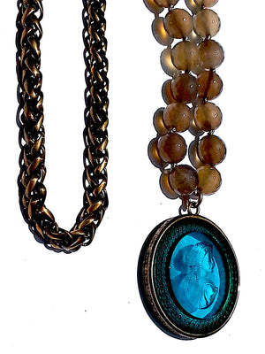 Double Necklace Intaglio Faceted Glass Beads Mesh Rope Chain