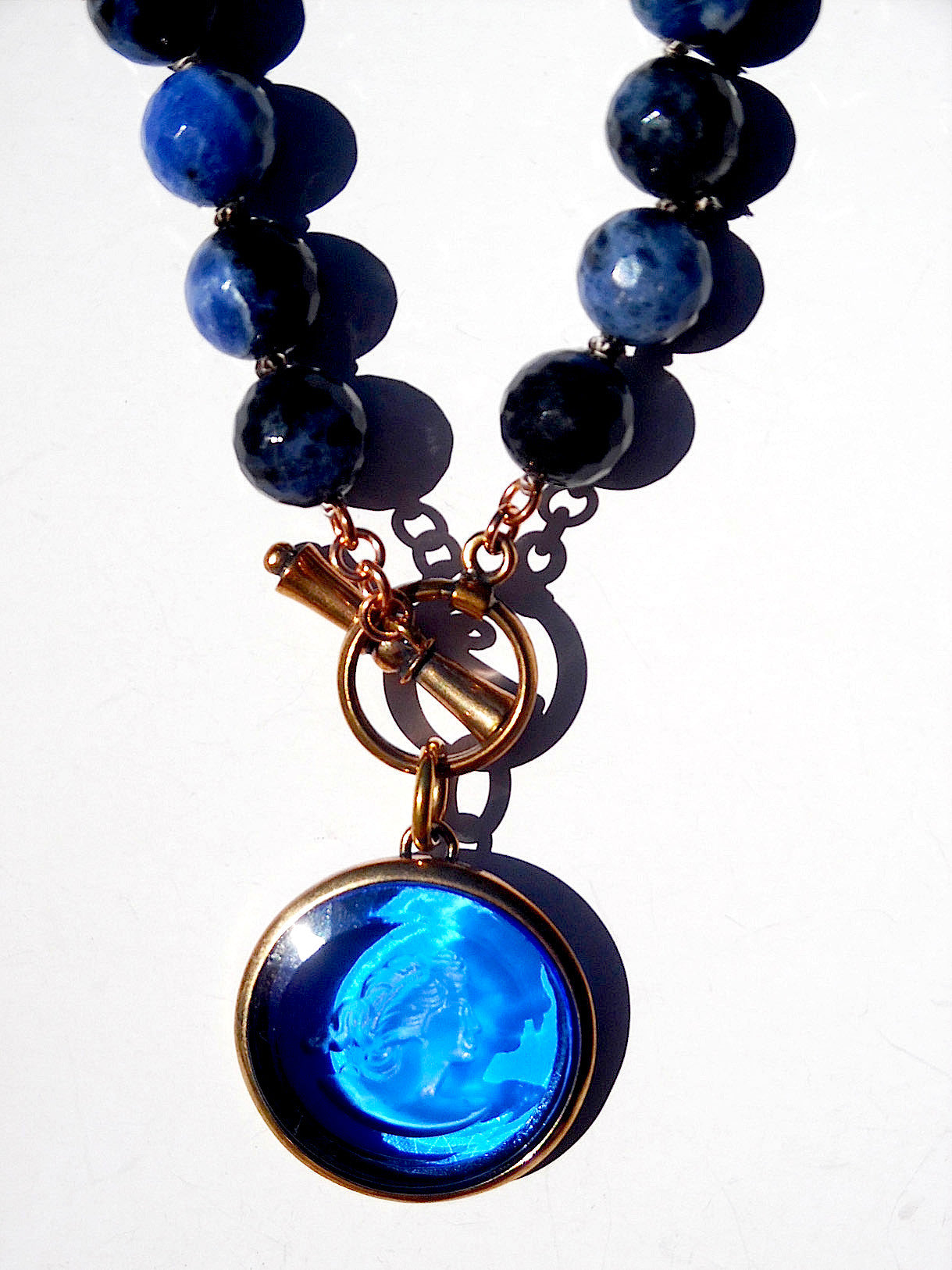 Necklace Intaglio On Faceted Glass Beads