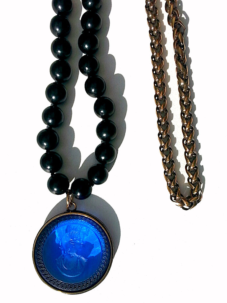 Double Necklace Intaglio Jet Beads Mesh Rope Chain