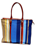 French Cotton and Saddle Leather Box Tote
