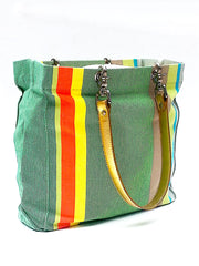 French Cotton Stripe Bags Green
