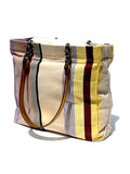 French Cotton Stripe Bags White Yellow Color Block