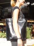 Gajumbo Tote Bag Calfskin Leather Black