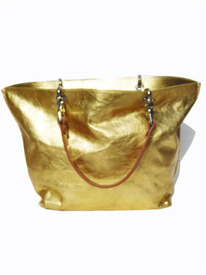 Gamidi Tote Bag Metallic Leather Gold