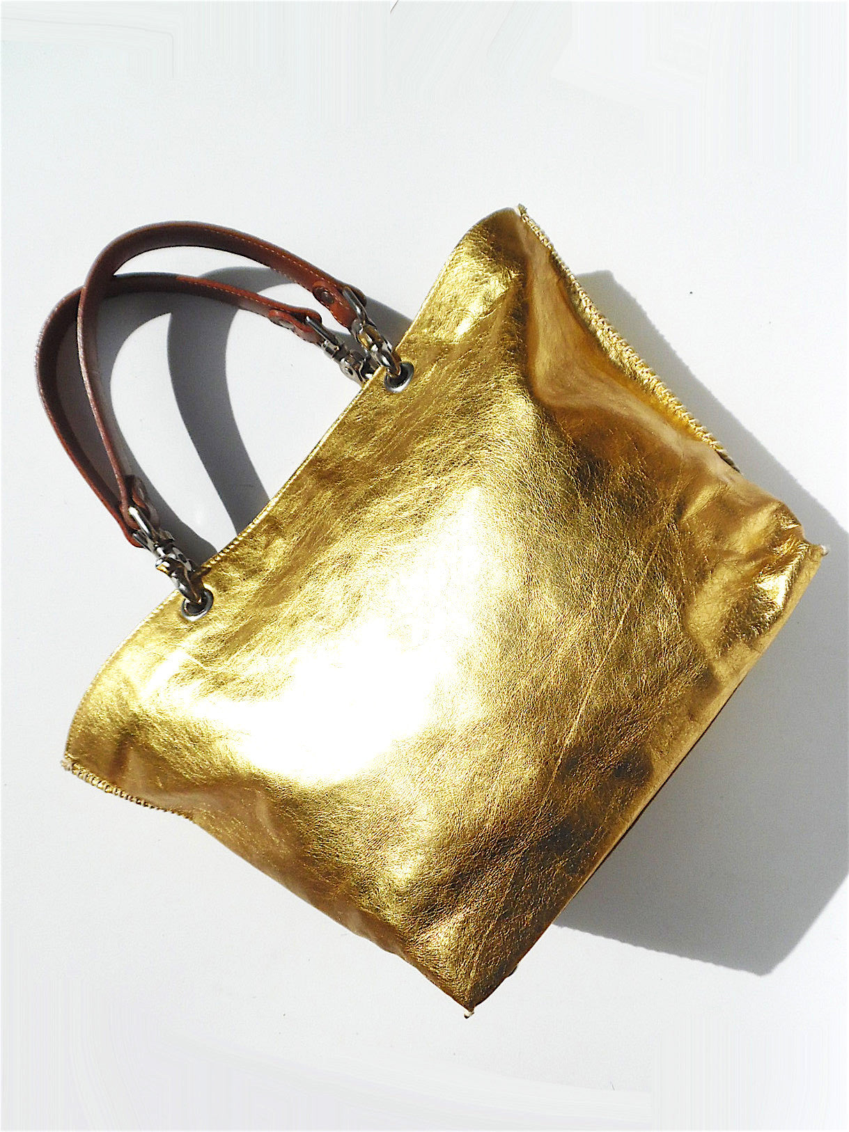 Gamidi Tote Bag Metallic Leather Champagne